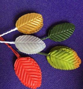 Листья 10шт на проволоке скрап декор флорист