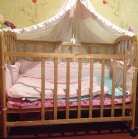Кроватка Фея с матрасиком и комплектом бамперов