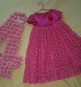 Детское платье и цифра для дня рождения девочки.
