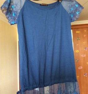 Новая блуза , кружево, хлопок,46 размер