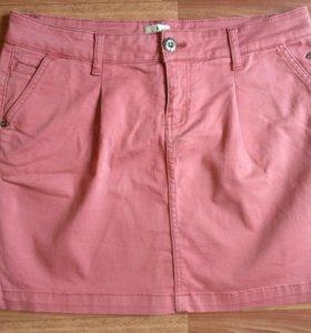 Юбка джинсовая, розовая 46-48