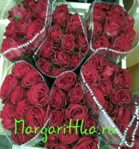 Розы, букеты роз, розы оптом, букет цаетов