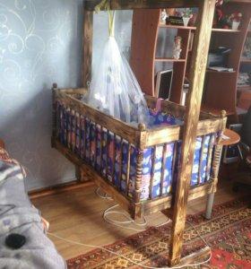 !Детская кровать-качалка, матрас в комплекте