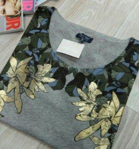 Armani Jeans футболка серая принт листья (EU 40)