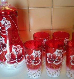 Набор питьевой кувшин и 6 стаканов