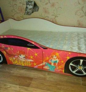 Кровать-машина с матрасом для девочки 160 см