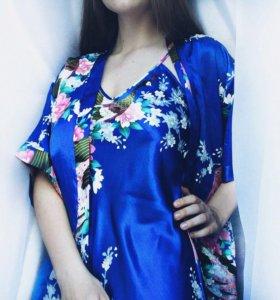 Комплект: рубашка+накидка+пояс (домашний костюм)
