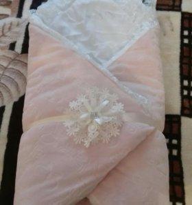 Конверт-одеяло и комплект на выписку для девочки