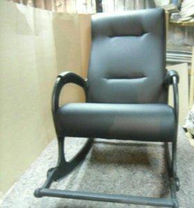 Кресло качалка Престиж, черная матовая экокожа