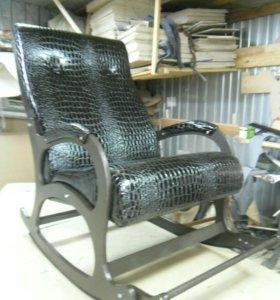 Кресло качалка Престиж, экокожа черный крокодил