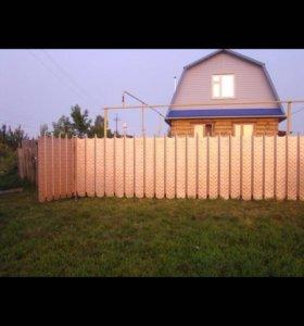 Забор. Оригинальный забор с пиками из профнастила