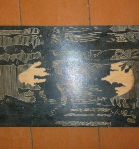Картина Закат резьба по дереву,СССР
