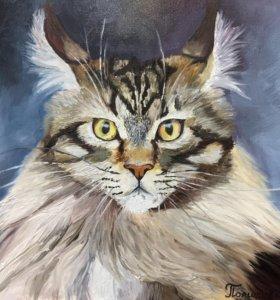Картина с Котом , холст, масло 30х30 см