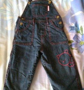 Джинсовые штаны с бретелями