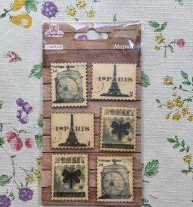 Деревянные марки для скрапбукинга