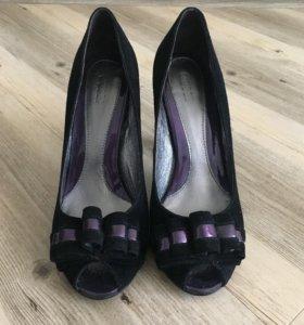 Чёрные туфли 36,5 замша