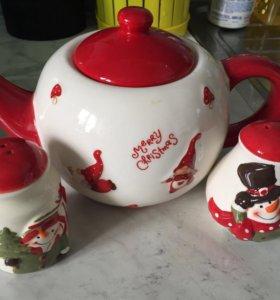 Чайник и солонка с перечницей