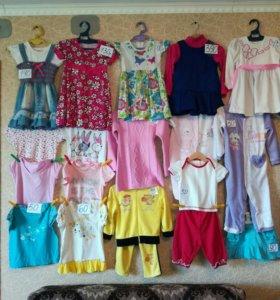 Одежда 1-2 года. Футболки,платья,костюм, комбез.