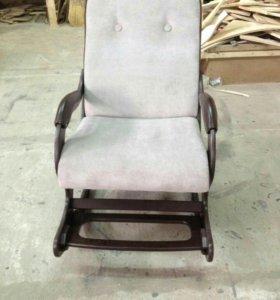 Кресло качалка Люкс с подножкой, бежевый флок