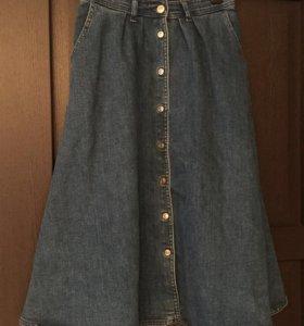 Джинсовая юбка на пуговицах zara