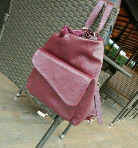 Новая кожаная сумка рюкзак