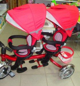 велосипед 3х кол для двойни Twin Trike 360