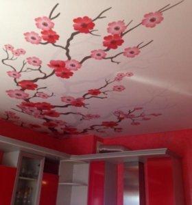 """Натяжной потолок с фотопечатью """" Сакура"""" под ключ!"""