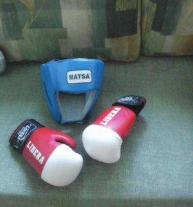 Детские боксерские перчатки кожа и шлем