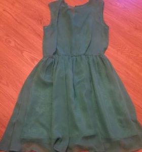 Шифоновое платье, бирюзового цвета, шила у швеи