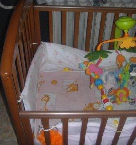 детская кроватка маятник из березы с кокосовым матрасом и бортиками