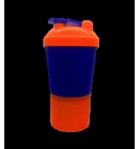 Shake 600ml (Шейкер 600мл с отсеком для порошка) синий стакан, оранжевая крышка, с сеточкой
