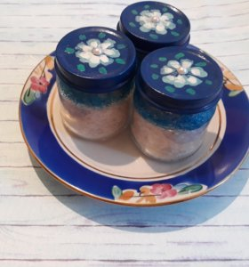 Морская соль с эфирным маслом в милых баночках