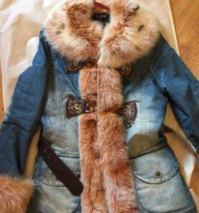 Джинсовая зимняя куртка