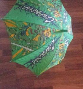 Зонт детский черепашка ниндзя со свистком