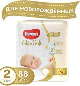 Подгузники Huggies elite soft 2(3-6кг), 88шт