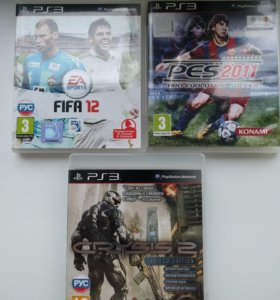 Диски PS 3, Crysis 2, PES 2011, FIFA 12