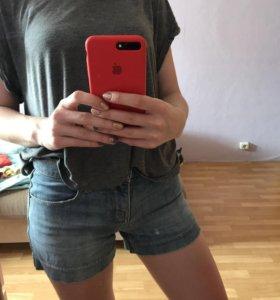 Джинсовые шорты zara, topshop