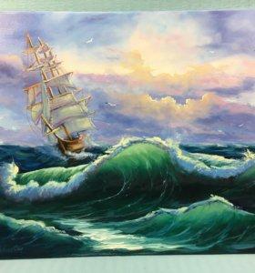 """Картина """"Рассвет у берегов Средиземноморья"""""""