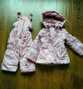 Зимняя куртка с комбинезоном для девочки