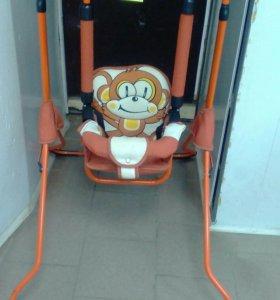 Качели оранжевые с обезьянкой