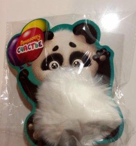 Меховой брелок панда