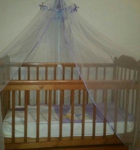 Детская кроватка в комплекте ортопедический матрас