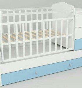 Детская кровать трансформер с матрасом