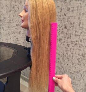 Голова манекен учебная, натуральные волосы 50-60см