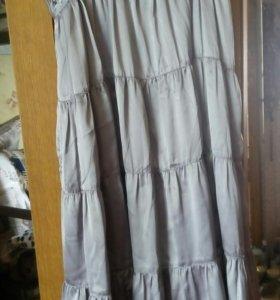 Платье шёлковое серебристо-серое