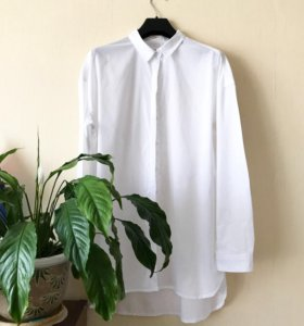Длинная рубашка белая хлопок 46