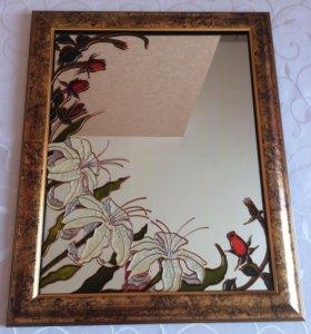 Зеркало, витражная роспись