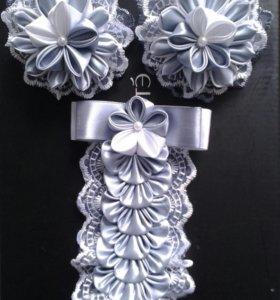 Школьные аксессуары для волос (2резинки+галстук)