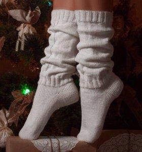 Гетры носки женские вязаные белые