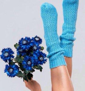 Носки женские вязаные голубые